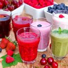 Organic smoothies, fruit yogurt and juices