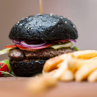 black hamburger with squid ink